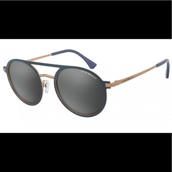 Emporio Armani Sunglasses Blue/Grey Round Mirror